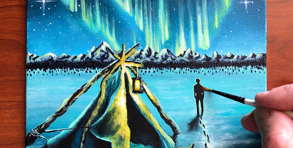 acrylic Northern Lights painting for sale