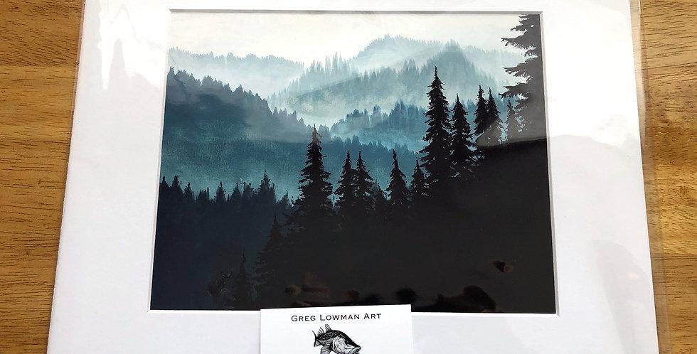 unframed forest mountain art print