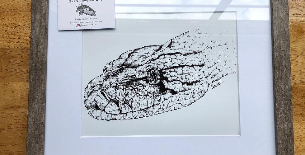 framed snake art print