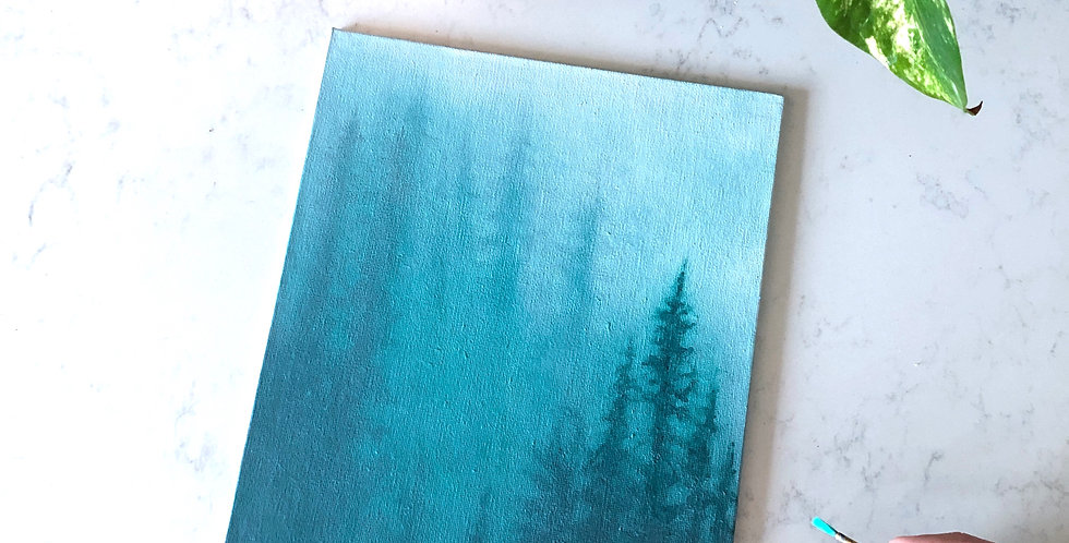 acrylic forest in the mist painting