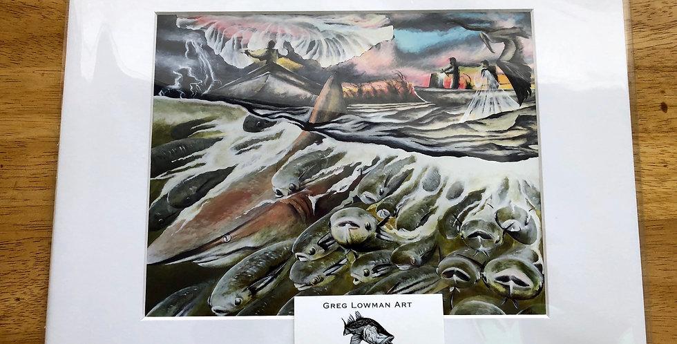 unframed Florida mullet run art prints for sale