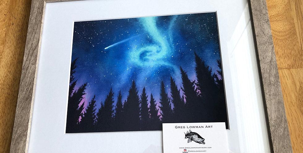 framed Northern lights (aurora borealis) art print