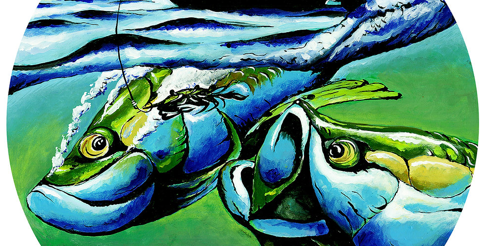 original sunset tarpon fishing painting