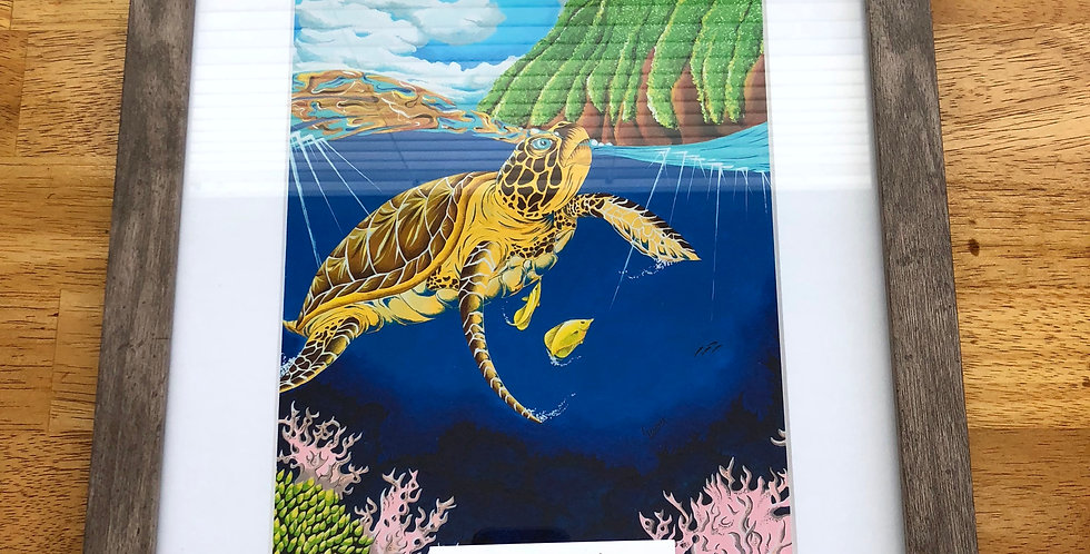 framed green sea turtle art print