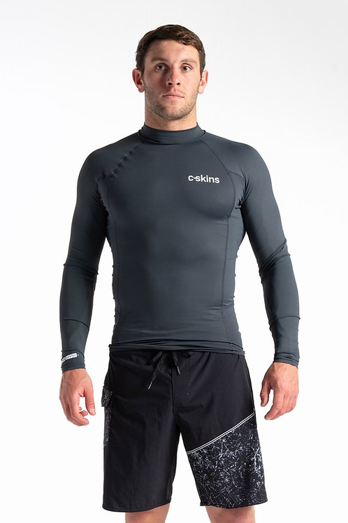 C-Skins Mens UV Skins Basics Long Sleeve Rash Vest Anthracite