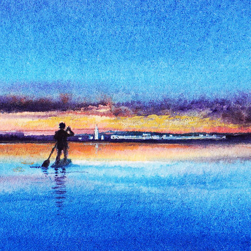 """""""Paddle board to Hurst Castle"""" Greeting Card"""