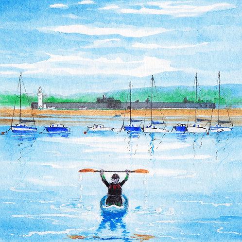"""Mat, his kayak & Hurst Castle"" Greeting Card"