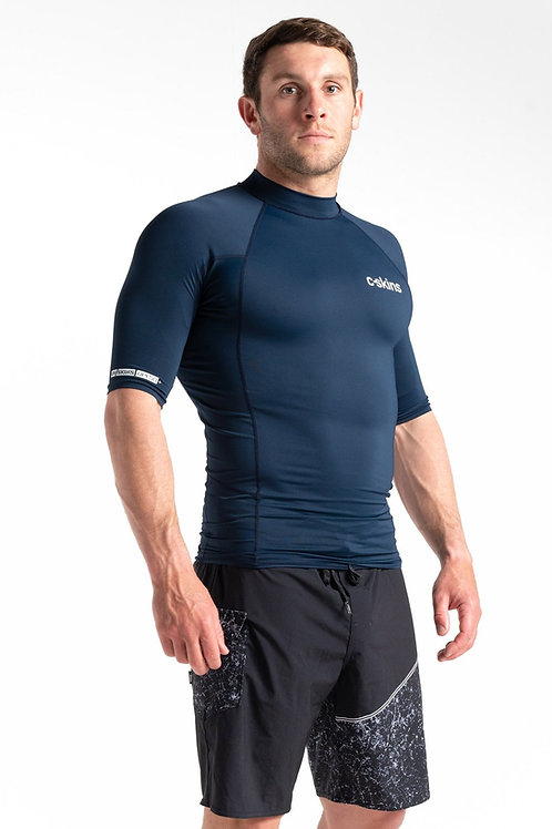C-Skins Mens UV Skins Basics Short Sleeve Rash Vest Slate Blue