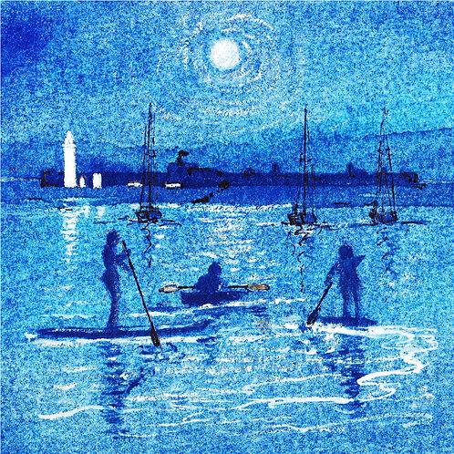 """Hurst Castle, Moonlight & Paddles"" Greeting Card"