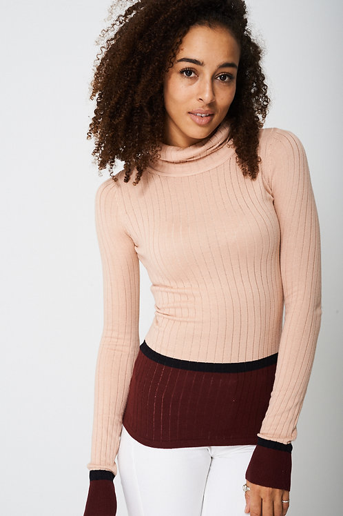 Polo Neck With Contrast Top
