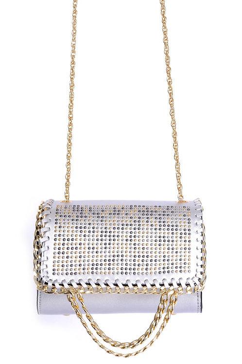 Embellished Silver Shoulder Bag