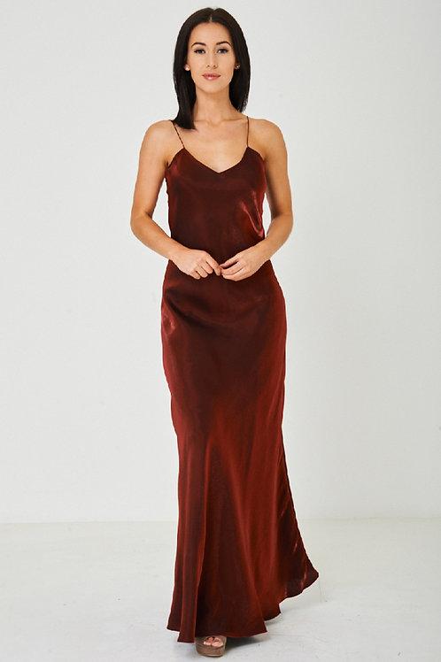 Solid Red Satin Fishtail Maxi Dress