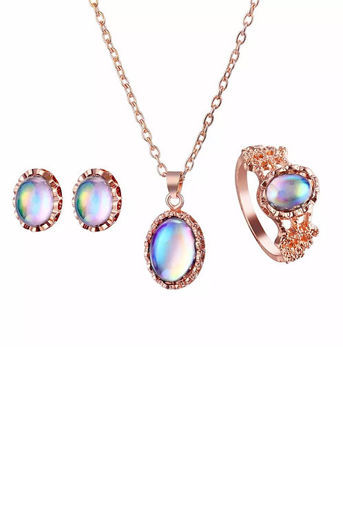 3 Pcs Rose Gold Set -Necklace, Earrings, Ring