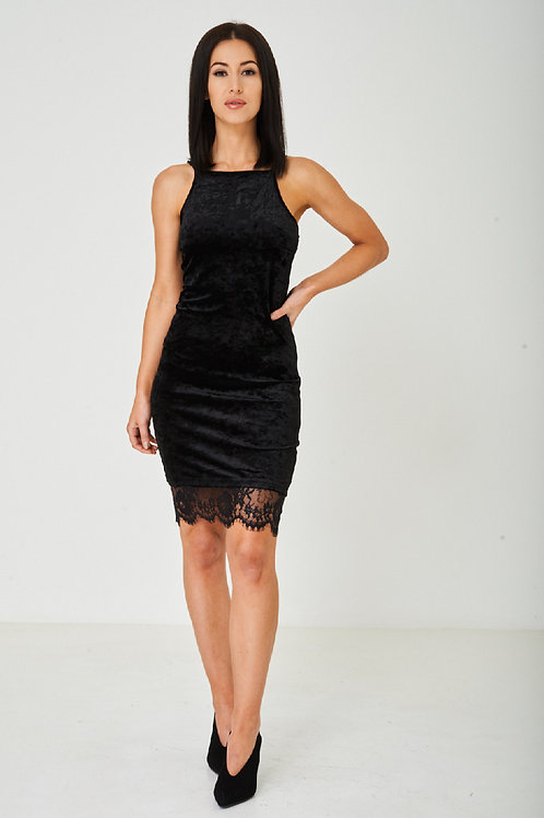 Black Crushed Velvet Dress