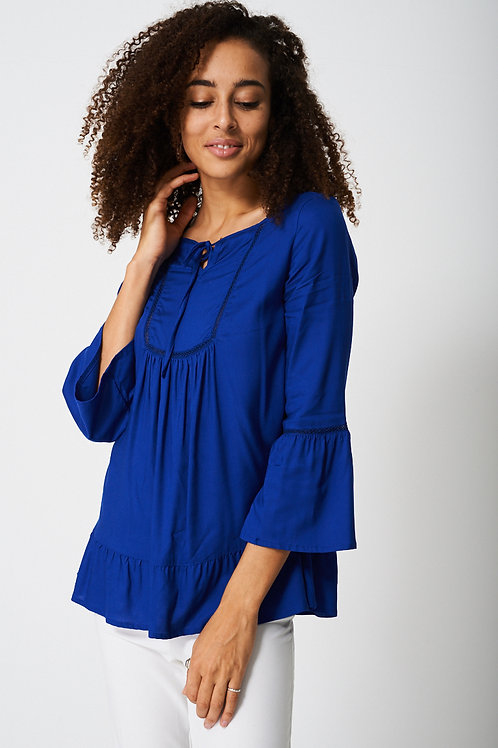 Bell Sleeve Blouse With Front Smocking Detail