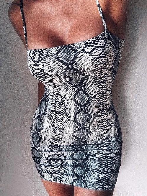 Snake Print Strap Mini Dress