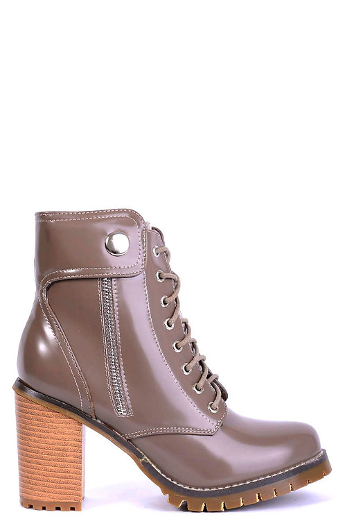 Khaki Patent Ankle Boots