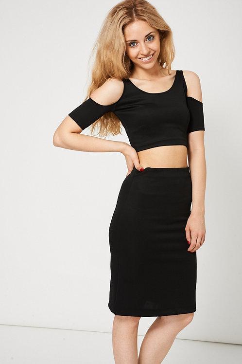 Black Scuba Crop And Skirt Set