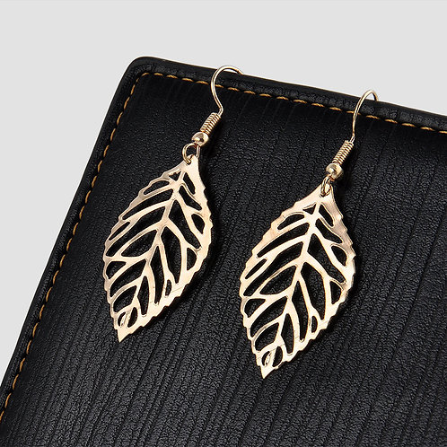 Gold Dangle Leaf Earring