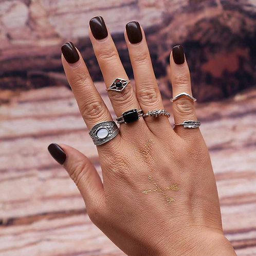 Black Crystal Bohemian Ring Set