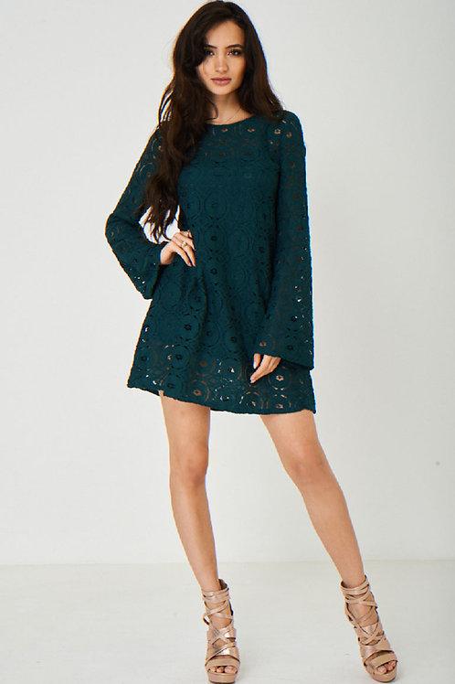 Green Lace Swing Dress