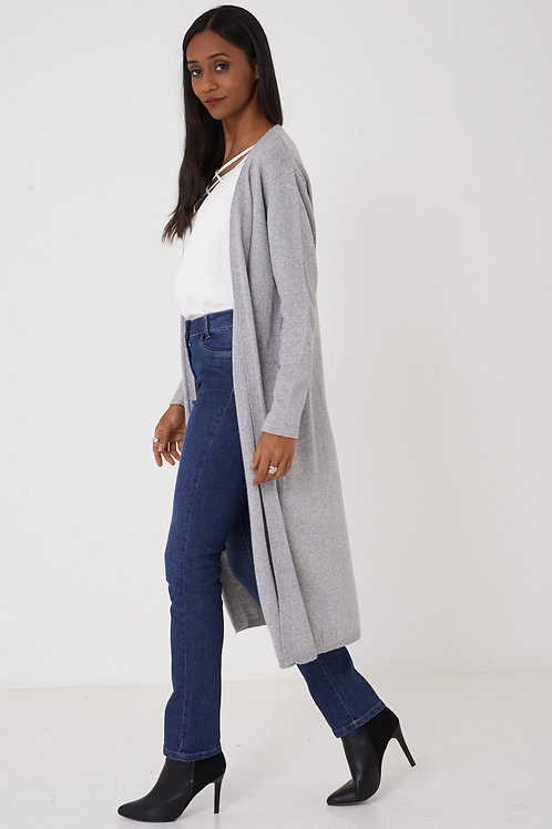 Longline Grey Knitted Cardigan