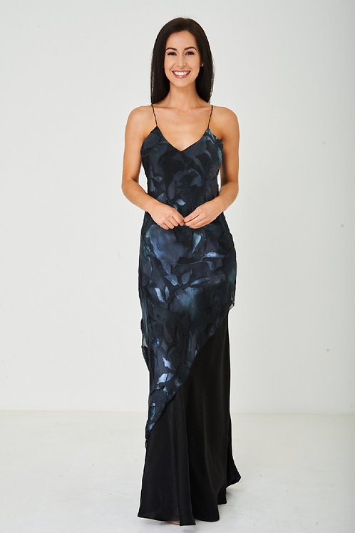Printed Black Fishtail Maxi Dress