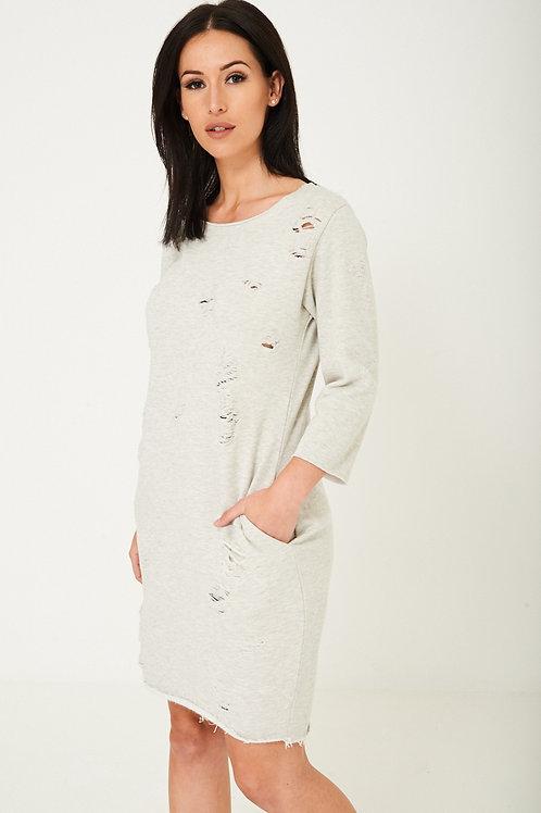 Grey Distressed Jumper Dress