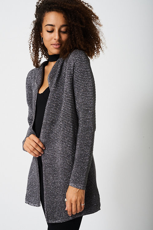 Open Front Metallic Cardigan
