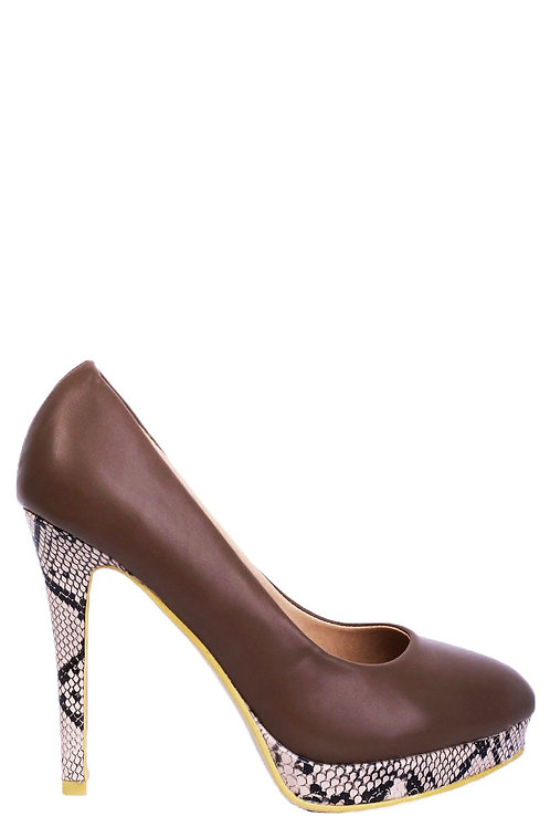 Python Stiletto Heels in Brown