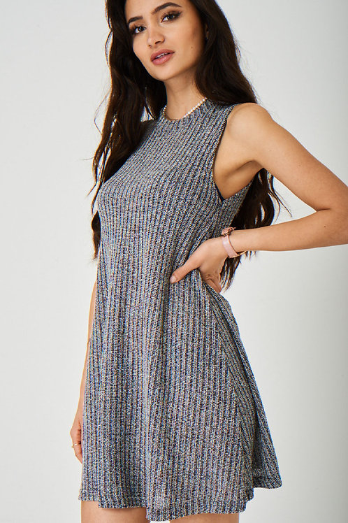 Grey Knitted Ribbed Dress