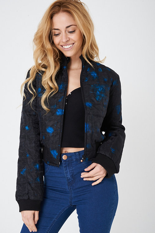 Black Bomber Jacket with Blue Real Feather Insert