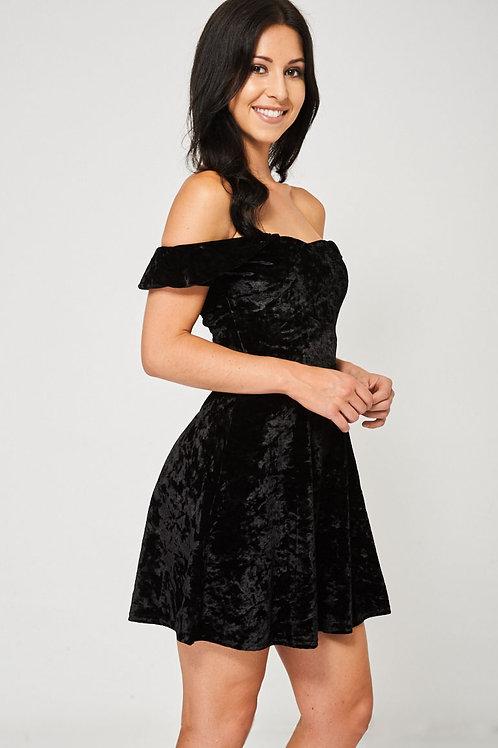 Crushed Velvet Off-Shoulder Black Dress