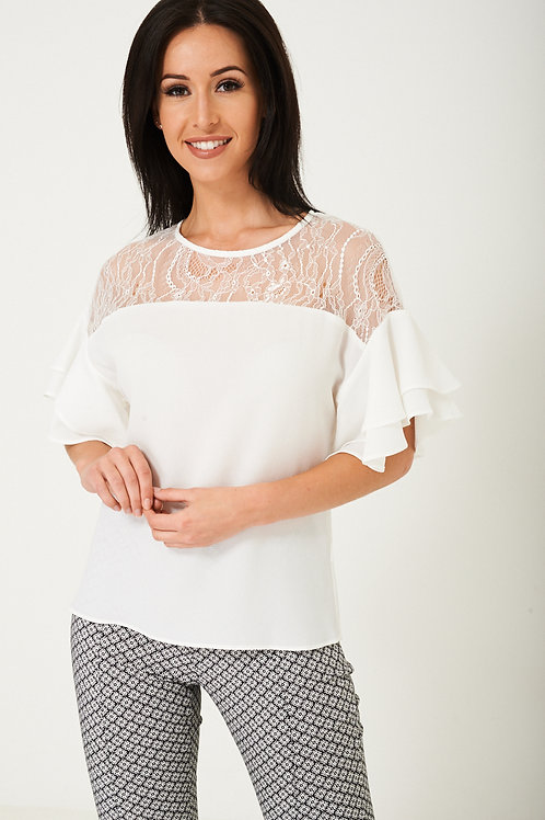 White Top with Lace Front Detail