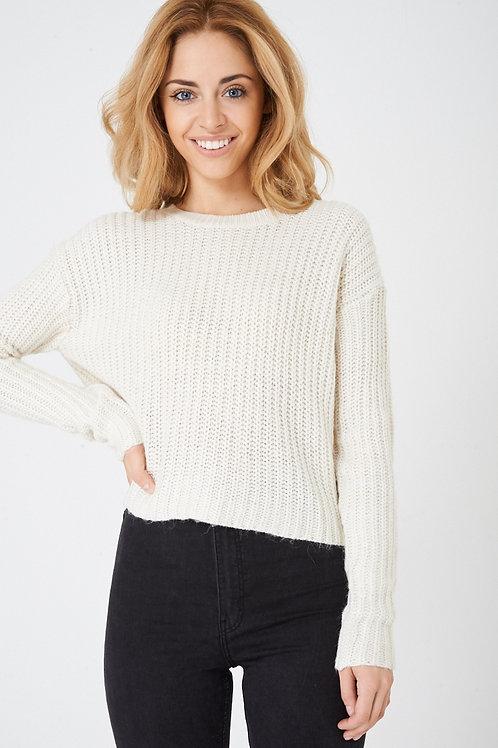 Cropped Knit Jumper in Cream