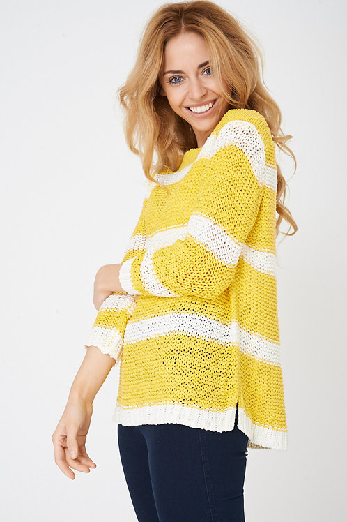 Bright yellow boat neck chunky knit jumper