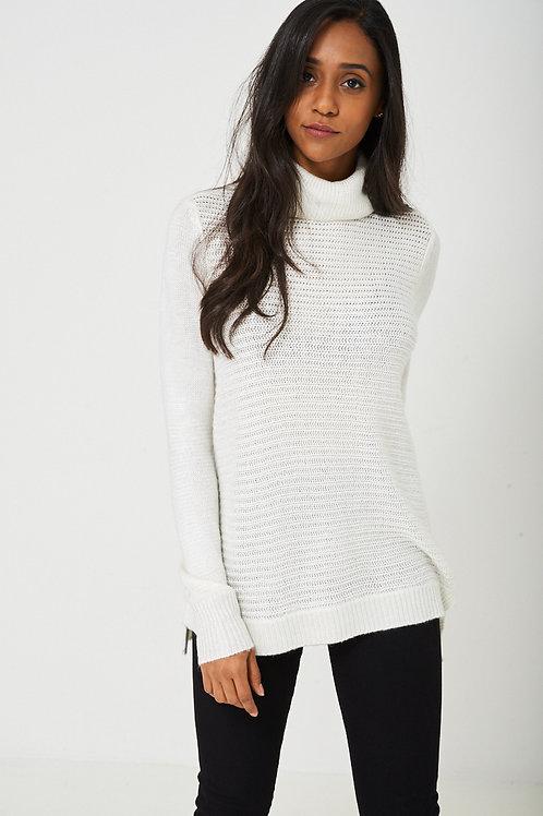 Knitted Metallic Yarn Jumper in White
