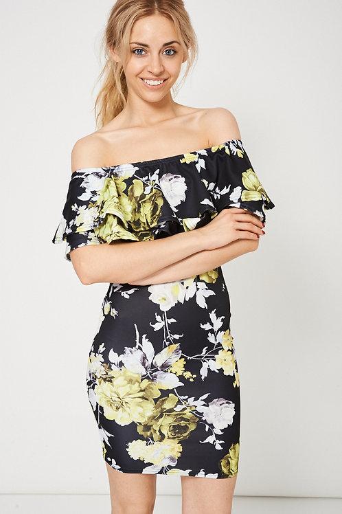 Floral Pattern Double Frill Bardot Mini Dress