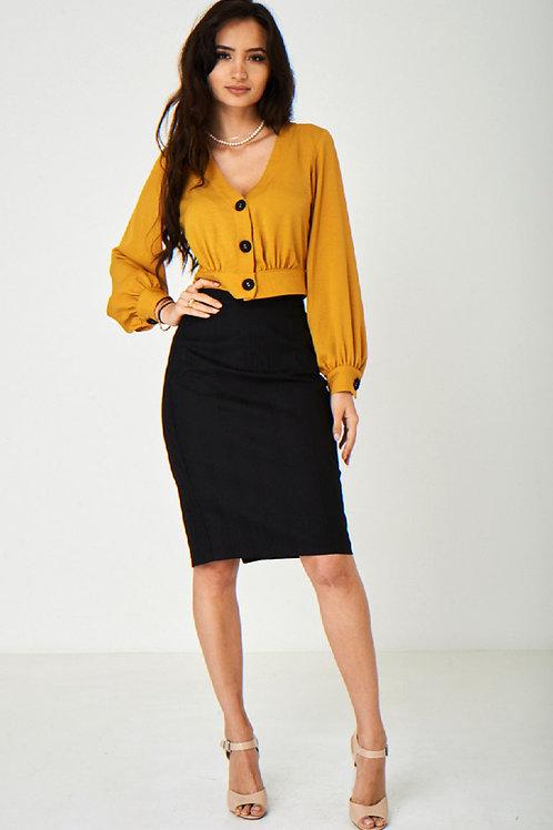 Black Office Pencil Skirt