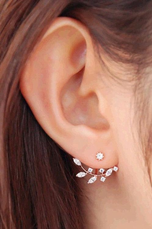 Zircon Elegant Gold Leaf Earrings
