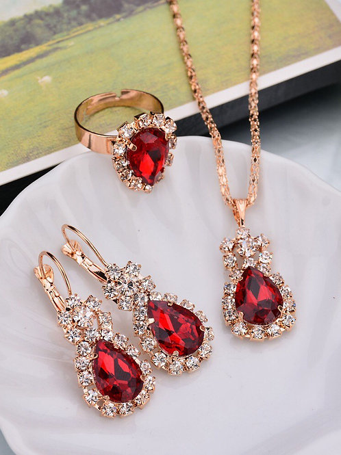 4 Piece Ruby Red Jewellery Set