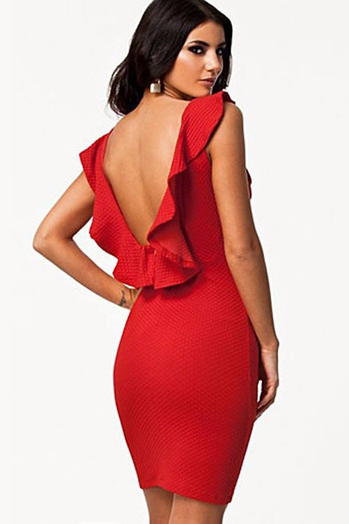 Red Ruffled Backless Dress