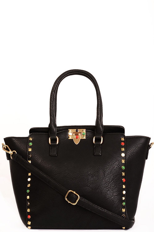 Faux Leather Studded Trapeze Bag in Black