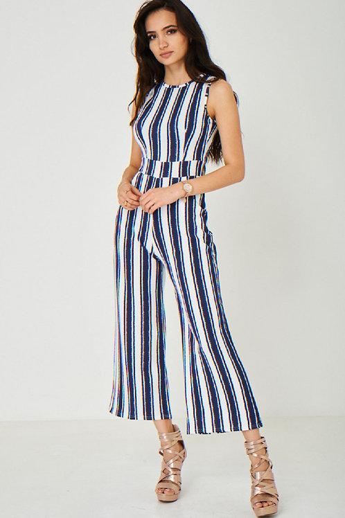 Wide Leg Jumpsuit in Stripes