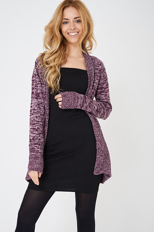 Purple Open Front Cardigan in Mixed Yarn