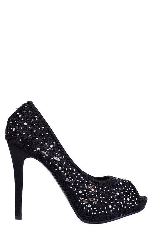Black Lace Stiletto Heel Peep Toe Sandals