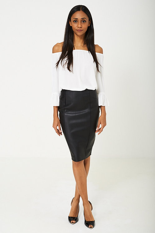BIK BOK Faux Leather Pencil Skirt in Black