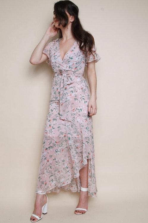 Floral Frill Wrap Maxi Dress