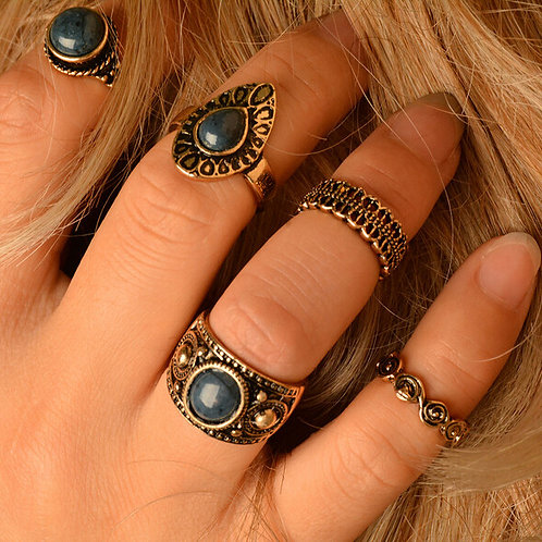 5pc Bohemian Rings Set