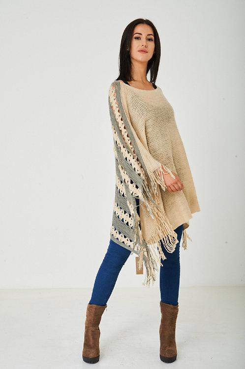Beige Crochet Knit Poncho.